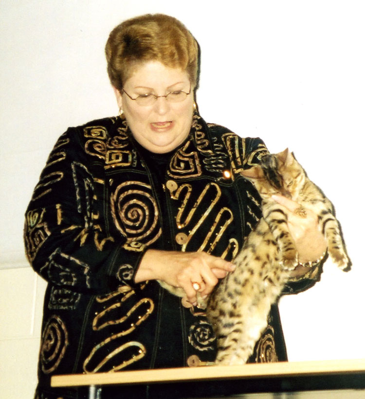 Mrs. Kay de Vilbiss pointing out some of the characteristics of a Bengal's coat pattern