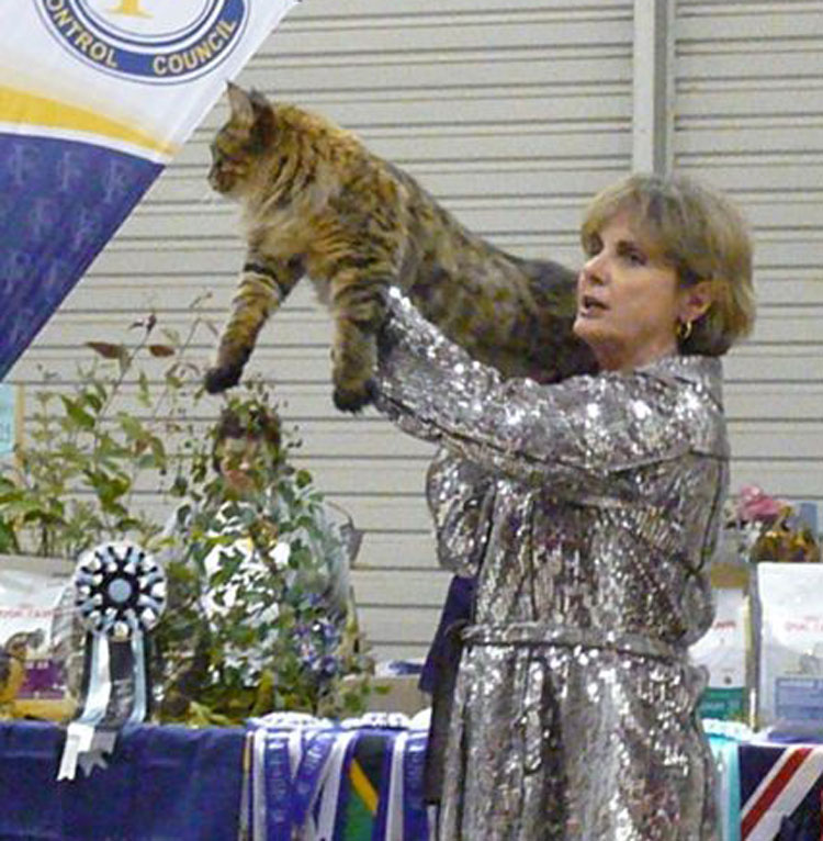 Pam DelaBar holds up the overall Best Cat in Show.